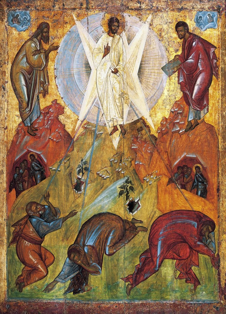 4, Example 2a, The Saviour's Transfiguration, an early-15th century icon from the Tretyakov Gallery, attributed to Theophanes the Greek