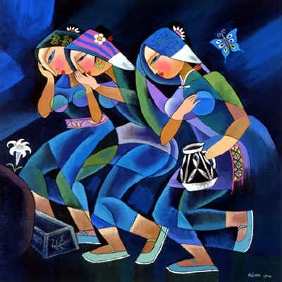 women-arriving-at-the-tomb_he_qi_1999