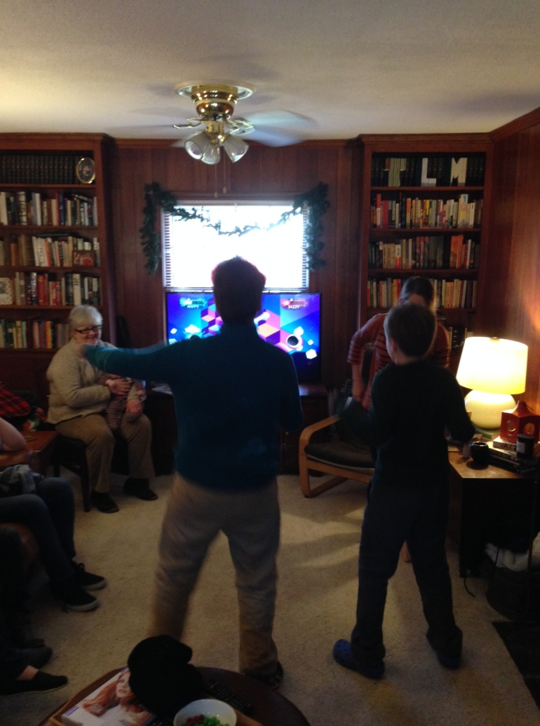 "Youth playing ""Just Dance"" during the Open House"